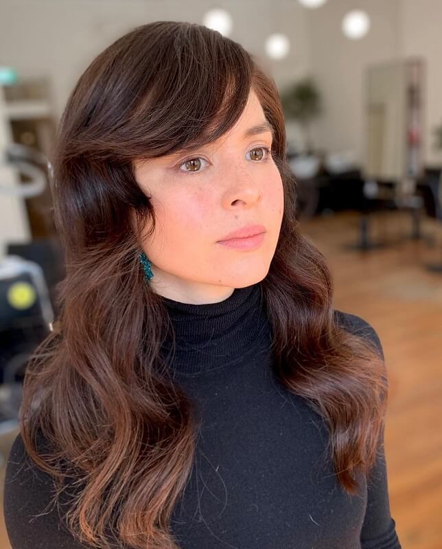 side bangs for heart shaped face